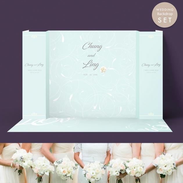 白玫瑰情緣 婚禮背板套組(全) 1